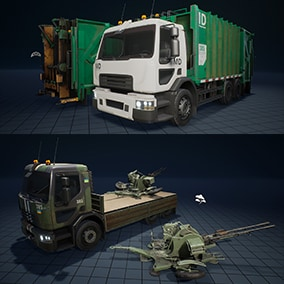 The pack contains a truck (as a base), and additional elements, such as a garbage compartment, a regular body, a platform for anti-aircraft guns