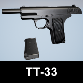 A highly authentic AAA model of a famous soviet semi-automatic pistol, perfect for FPS games.