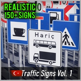 Optimized and game-ready asset pack with over 150 Turkish Road Signs. Perfect for your realistic game.