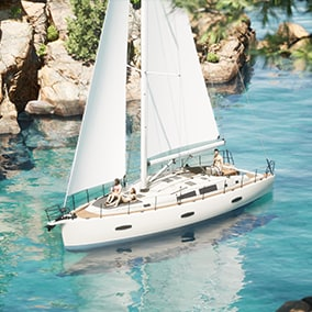 The Boats pack 1 from the Twinmotion asset library has been optimized for use in Unreal Engine.