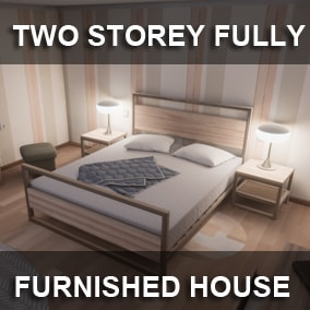 Two Storey Fully Furnished House - a low poly game asset pack. A middle class house furnished with Ikea like stuff and some furniture and items straight from flea market.