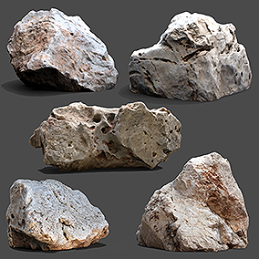 Hyper realistic Photogrammetry 3D scans of Rocks and Stones 16xPack