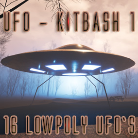 UFO Kitbash 1 is first Essential UFO pack suitable for most projects and low poly.  Textured with PBR these UFO`s compliment any project big or small.  2 Landing leg types are included along with Lights and animated materials.
