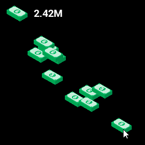 2D effect of collecting money or other items with rounding numbers.