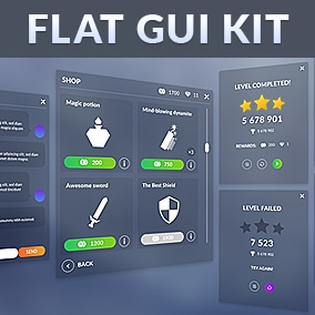 UNIVERSAL FLAT GUI / UI KIT WITH 48 WIDGETS, 82 ICONS, FOR FULLHD/4K SCREENS, WITH PSD AND AI EDITABLE SOURCE FILES AND 200 PNG FILES