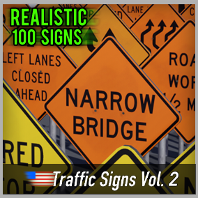 Optimized and game-ready asset pack with 100 American Road Signs. Perfect for your realistic game.