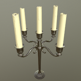 A collection of candles at different stages of melting and candle holders