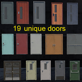 PBR materials + Rigged/Animated Doors with multiple skin variations
