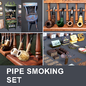 Pipe Smoking Props Set featuring pipes, smoking accessories, furniture, paintings and more