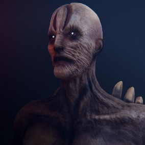Humanoid undead game ready 3d character, rigged to Epic skeleton, performance friendly