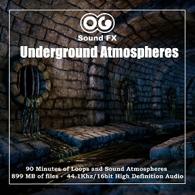 This SFX pack contains an impressive 90 minutes of Underground Sound Atmospheres totaling 899 Mb of Loops and Sound Effects.  All files are stereo 16-bit 44.1 kHz WAV format.