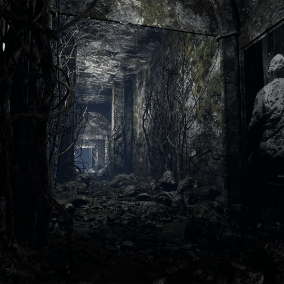 Gloomy, dark and mossy  materials, textures and simplistic props for creating forgotten environments