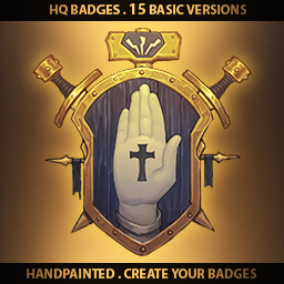 A set of 15 hand drawn Universal Badges.