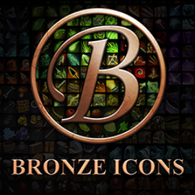 Set of 40 hand drawn skill, resource, armor, and weapon icons.
