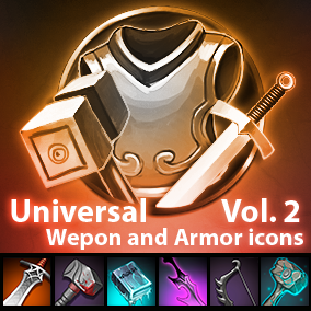 Set of 145 armor and weapon hand-painted icons.