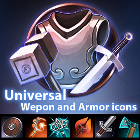 Set of 138 armor and weapon hand-painted icons.