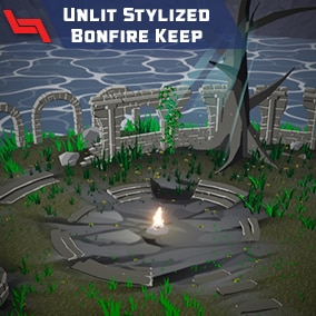 A unlit-style environment featuring a bonfire and dilapidated castle ruins.