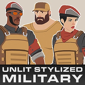 A bundle of unlit stylized characters in military gear. Includes 3 bodytypes (male, female, buff male), standalone characters and modular parts, weapons.