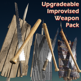 Baseball bats, swords, spears, and shields. Meant for use as upgradeable weapons. 2K textures, custom collision, blood masks for all items.