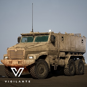 The Vigilante® Russian MRAP Ural Typhoon comes with Desert and Forest textures, is fully rigged, has animated wheels, rotor, and 7.62 mm HMG general-purpose machine gun. This vehicle is DIS/HLA (RPR FOM) Integration ready. Designed for simulations.