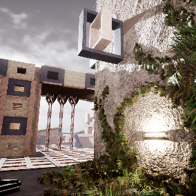 Modular brutalist and utopian architecture assets. Concrete, steel, holograms.
