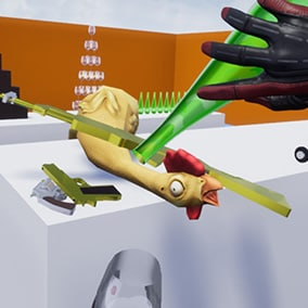 A collection of components and blueprints so you can have VR hands based on physics and a fast and easy way to realistically grab objects, regardless of their shape. The demo scenario includes teleport, weapons, a button, a lever, and a valve.
