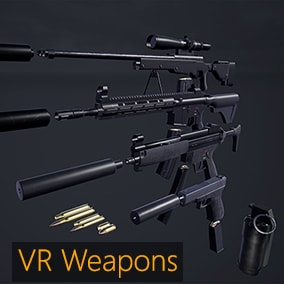 Use this pack to create your own VR games with realistic weapon interactions. All blueprints are designed for optimal performance even on the Oculus Quest with options for customisation.