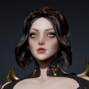 3D Model of Vampire Girl. Rigged to Epic Skeleton. PBR Textures. Live Link Face Blendshapes.