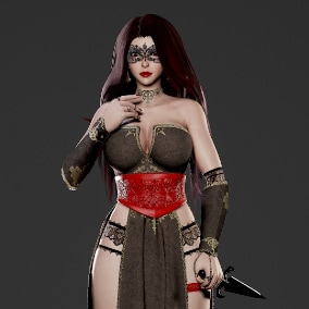 Low poly, game ready, rigged, PBR textures. Include nude(with underwear) body mesh.