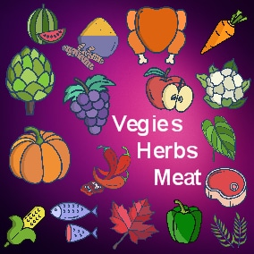 A icons pack with Vegies, Fruits, Herbs and Meats
