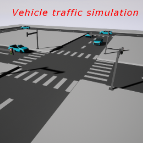 Vehicle traffic system using splines for path following and intersection sequences for realistic traffic negotiation.