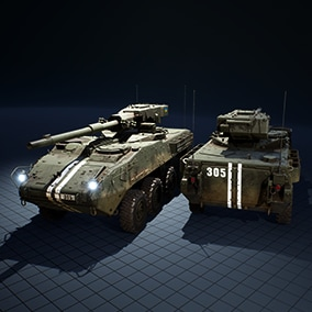 Realistic armored vehicle driven with realistic physics of movement. The cannon turns and can shoot