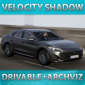 Fast driveable car with customizable materials, decals, lights, sound, passengers for games or archviz