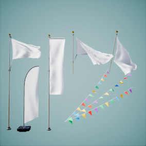 A variety of naturally animated flags, for Games or Archviz. Wind Strength can be adjusted and animated between for every asset. Requires no additional project setup, all animation playback takes place in the material. Plug and play.