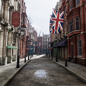 A Victorian London style street. This project includes over 100 textured modular meshes, which are all accessible through included custom Blueprints that make it easy to build your own environment.