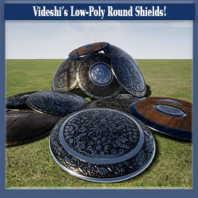 "A low-polygon shield model (lowest version = 324 tris) with 39 material variations. Several ""default"" styles that users can easily add their own insignia's/logos etc to, and a variety of creative shields with detailed patterns."