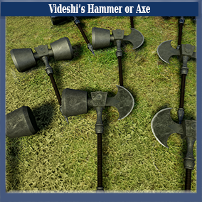 This is a modifiable battle axe/hammer which comes with both a bright, new, steel look and an old, worn, iron look. Comes with two highly-detailed material looks.