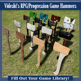 These are a variety of one-handed hatchets created for use in RPG/Survival games when upgrades or progressive versions of items are needed. The progression goes from wood, to stone, to metal, to crystal with four levels of material/meshes per type.