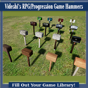 These are a variety of one-handed mallets created for use in RPG/Survival games when upgrades or progressive versions of items are needed. The progression goes from wood, to stone, to metal, to crystal with four levels of material/meshes per type.