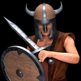 Viking weapons asset that included 3axes, 1 double axe, 2 hammers, 2 spear, 2 spike maces, 5 shields, 5 sword and 5 helmets.