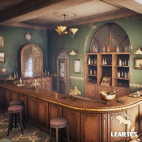 Vintage Bar Interior Environment With 85 Unique Meshes