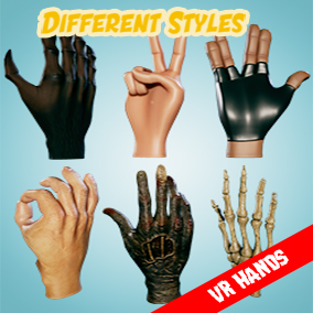 Different style hands fo virtual reality (VR).