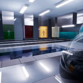 Advanced feature-rich material of glass combined with volumetric effects.