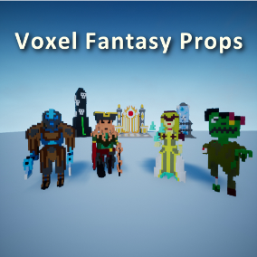 The Voxel Fantasy Props asset contains multiple themes of environments and characters to use in your levels