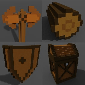 Voxel 3D models of medieval props, tools and weapons with UI icons and 2D sprites