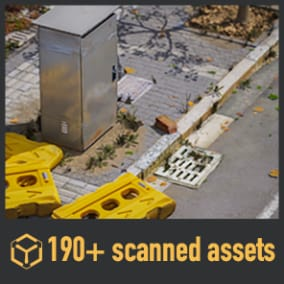 190+ PBR scanned assets for streets.