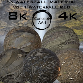 5 Super Realistic Waterfall Materials for all platforms. All Textures have their own 8K,4K,2K and 1K version and ready for every kind of project.