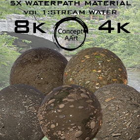 5 Super Realistic WaterPath Materials for all platforms. All Textures have their own 8K,4K,2K and 1K version and ready for every kind of project.