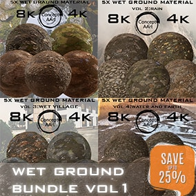 Wet Ground material Bundle for all platforms. All Textures have their own 8K,4K,2K and 1K version and ready for every kind of project.