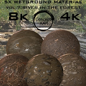 5 AAA  Wet Ground Materials for all platforms. All Textures have their own 8K,4K,2K and 1K version and ready for every kind of project.
